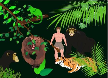 ape: Tiger. ape, bear and human in jungle