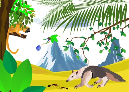 Natural wildlife Scene with ant-eater, and monkey