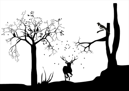 magpie: Silhouettes of deer running, monochrome illustration of forest and deer silhouettes