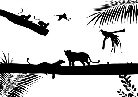 lying: Silhouettes of leopards lying on tree and tree branches illustration