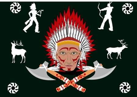 North american red indian man portrait and traditional silhouettes on black background
