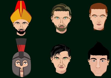 Set of portraits, head, faces.