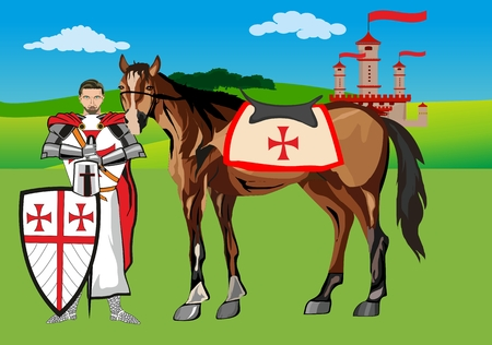 iron horse: Knight with his horse, in armore vector landscape, castle