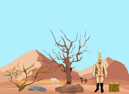 nomad: Ancestor of kazakh nomad massaget man on desert backgound, vector illustration Illustration