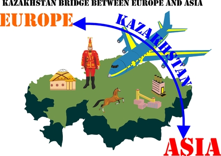 Kazakhstan Landmark Global Travel And Journey Infographic conceptual illustration Vector Design.