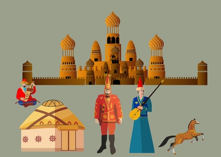 nomad: Kazakhstan country thematic vector elements set.