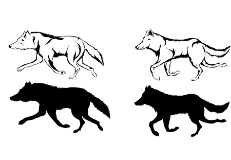 Wolves silhouettes and scetches, vector set, isolated vector illustration