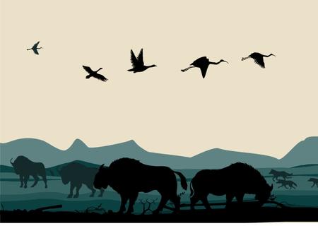 Americano del vector llanuras de la pradera ilustración de fondo de plantilla de diseño con las montañas y los animales. Bizons y lobos