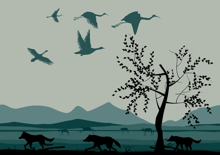 san joaquin valley: Vector asian desert plains background design template with mountains and animals