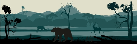 prairie dog: Horizontal vector illustration of silhouettes of forest, bears, deers, wild nature view. Illustration