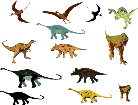 Cartoon dinosaurus vector collection set, isolated on white vector illustration.