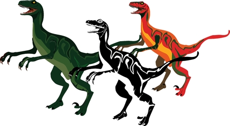 Dinosaurus collection in colors, isolated on white background vector illustration.