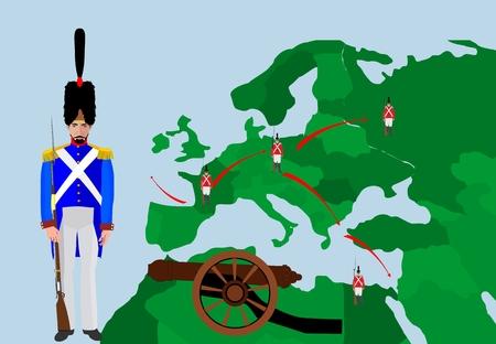 conquers: Napoleon wars historic illustration map. Conquers of Napoleon. Map of military actions Illustration