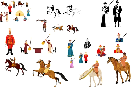 nomad: Nomad people vector collection set. Kazakha in traditional national drees.