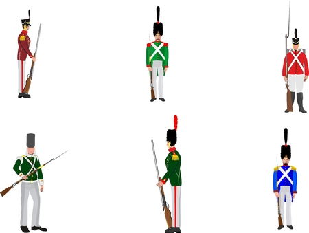 napoleon: The soldiers of the regular army of 18-19 centuries in different ammunition vector illustration.