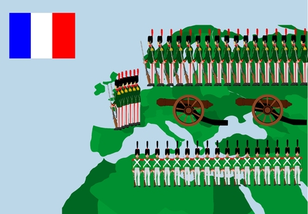 napoleon: Troops of Napoleon on european map, historic vector illustration. Illustration