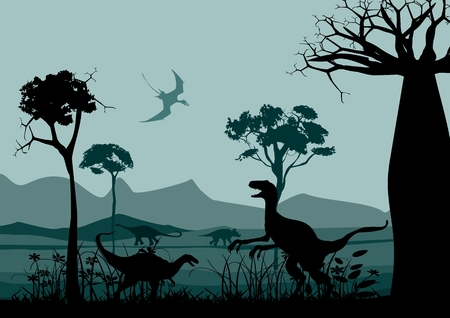 pterodactyl: Wildlife silhouettes scene with dinisaurs. Prehistoric landscape silhouettes. Vector illustration. Illustration