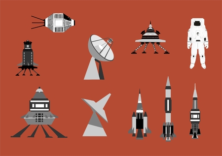 Space thematic vector icons set. Rockets, astronaut, spacemen, telescope