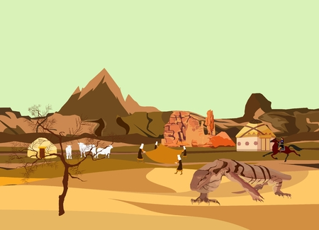 sand dunes: Kazakhstan dry desert and moutains wild nature vector illustration. Varan lizard on sand dunes. Illustration