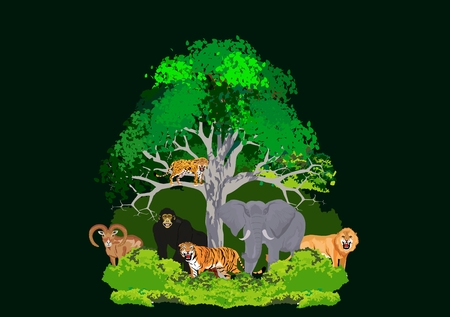 Animals under tree vector illustration