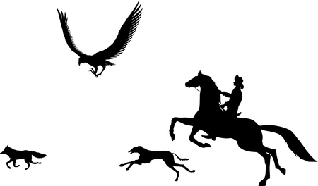 mongolia horse: Nomad hunting with eagle vector silhouette