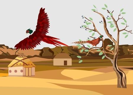 Pheasant flying over kazakh nomads aul in desert