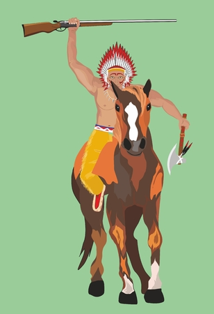 Red indian man warrior on horse Illustration