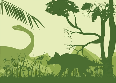 Prehistoric world landcape vector silhouette dinosaurs age