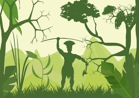 amazon: Silhouette of amazon indian on wild jungle.