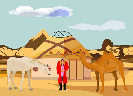 Kazakh man nomad and dwelling jurt, horse and camel in wild nature