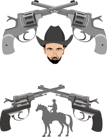 shootout: Silhouettes of cowboy on horse and guns, head of cowboy vector