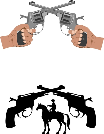 shootout: Hads clasping guns and silhouette of cowboy and guns
