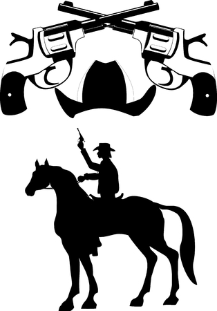 shootout: Silhouettes of cowboy on horse and guns black white vector