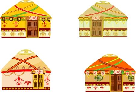 Kazakh nomad's dweelling jurts. Vector isolated set