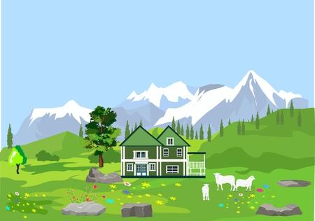Vector mountains and green alpen valley. Green pretty house, sheeps.
