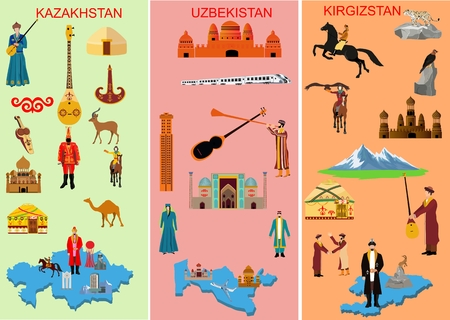 Set of three middle asian countries. Kazakhstan. Uzbekistan. Kyrgyzstan. Symbols of each country. Camel, people in national dress. Historical and, modern building, Musiacal instruments, nature, Mountain ,. Vector illustration