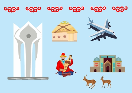 Set of symbols of sightseengs of Kazakhstan, vector illustration