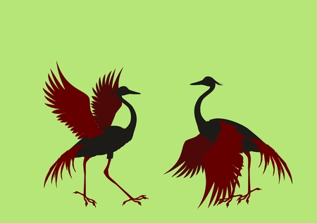Silhouettes of 2 dancing Crane crane birds illustration Illustration