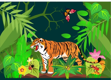 tiger in green jungles Vector illustration. Illustration