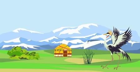 Kazakhstan countryside and nature vector illustration, crane bird and jurt house.