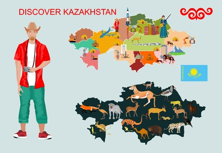 Kazakhstan Landmark Global Travel And Journey Infographic Vector illustration Template Ilustrace