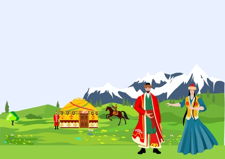 nomad: Kazakh people in national dress, mountain alpen in back