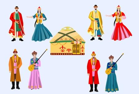Kazajistán personas en el vestido nacional, conjunto de vectores