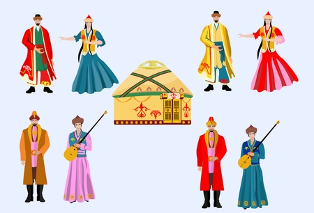 Kazakh people in national dress, vector set