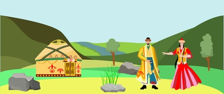 Kazakh people in national dress, vector flat landscape in bacground