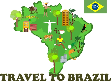 janeiro: Map of Brazil with country attractions and Tourist sites vector Illustration
