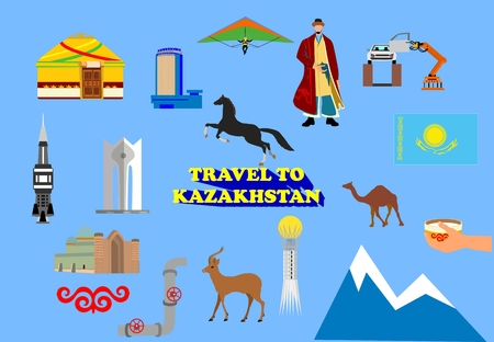 Kazakhstan vectror icons collection, isolated on white.