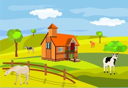 Countryside vector illustration, green hills, farm.