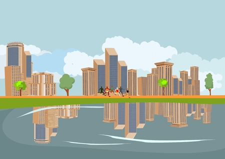 Buildings of a big city, reflected on a river, vector illustration Illustration