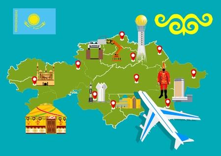 Travel to Kazakhstan, map of Kazakhstan concept vetor illustration